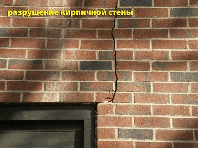 разрушение кирпичной стены